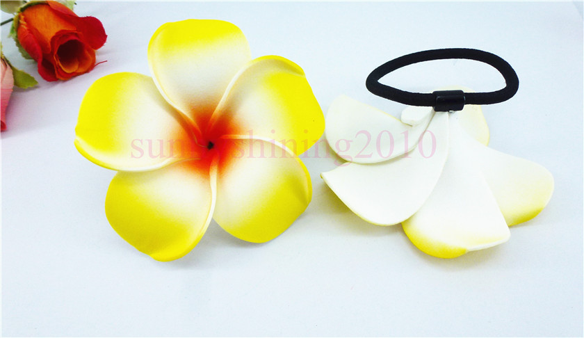 20 диаметр цветка украшение для волос ленты пены Гавайская Плюмерия эластичный с цветочным принтом Гавайский жасмин повязка на голову волос веревки