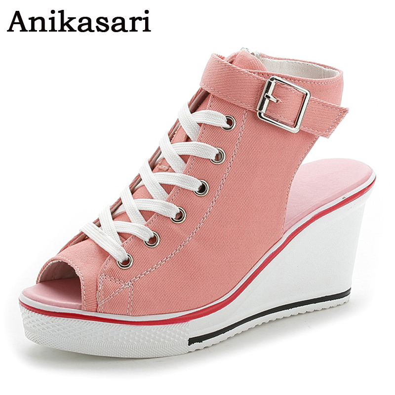 Size 35~43 High Top Canvas Shoes Woman Spring Summer Style Open Toe Wedge Platform Shoes Women Wedges Hidden Heels Casual Shoes large size 8cm high 2016 women casual canvas shoes woman platform wedges high top with zippers ladies zapatos mujer espadrilles