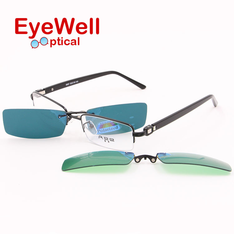 2016 popular high quality half rim metal optical frame myopia eyeglasses with clip on sunglasses polarized