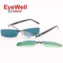 2016 beliebte hohe qualität halbrand metall optischen rahmen myopie brillen mit klipp auf sonnenbrille polarisierte und nachtsicht 6007