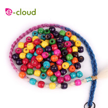 Фотография 100Pcs 12mm Multi Color Round Wood Hair Braid Dread Dreadlock Beads Cuff Clip Headwear Accessories Random Color