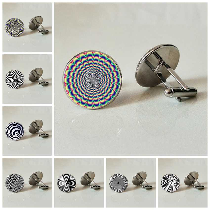 แก้ว Cufflinks ภาพลวงตาภาพ Handmade Photo Cufflinks ตา Cufflinks Deception Cufflinks Optical ภาพ