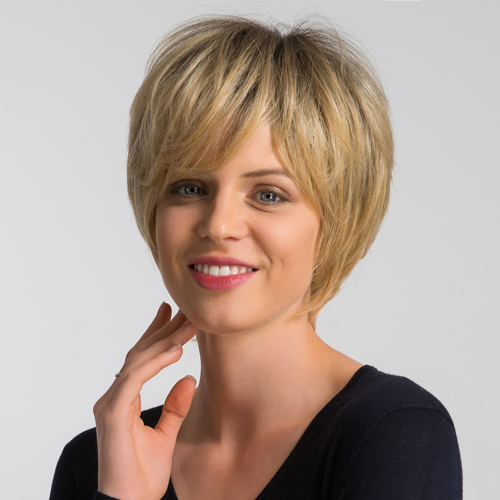 Shop For Cheap Element 6 Inch Short Synthetic Wig Dark Root Ombre Blonde Color Blend 50% Human Hair Pixie Cut Fashion Wigs For Women 4 Colors