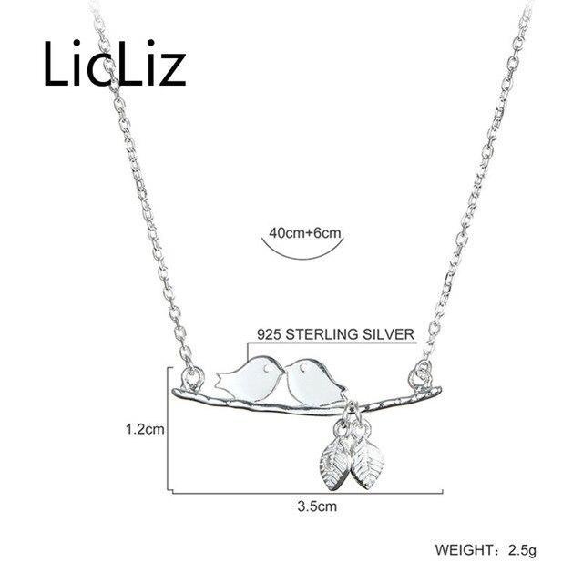 LicLiz Fashion Argento Sterling 925 Collane con pendente per Le Donne Uccello sul Ramo con Foglie Collares Mujer Moda Bijoux LN0390