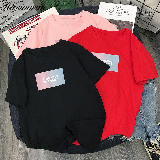 9bf7d59dd Hirsionsan Letter Print Tee 2019 Comfortable Short Sleeve Graphic Tees  Women Summer Round Neck Chic Korean Clothes T Shirt