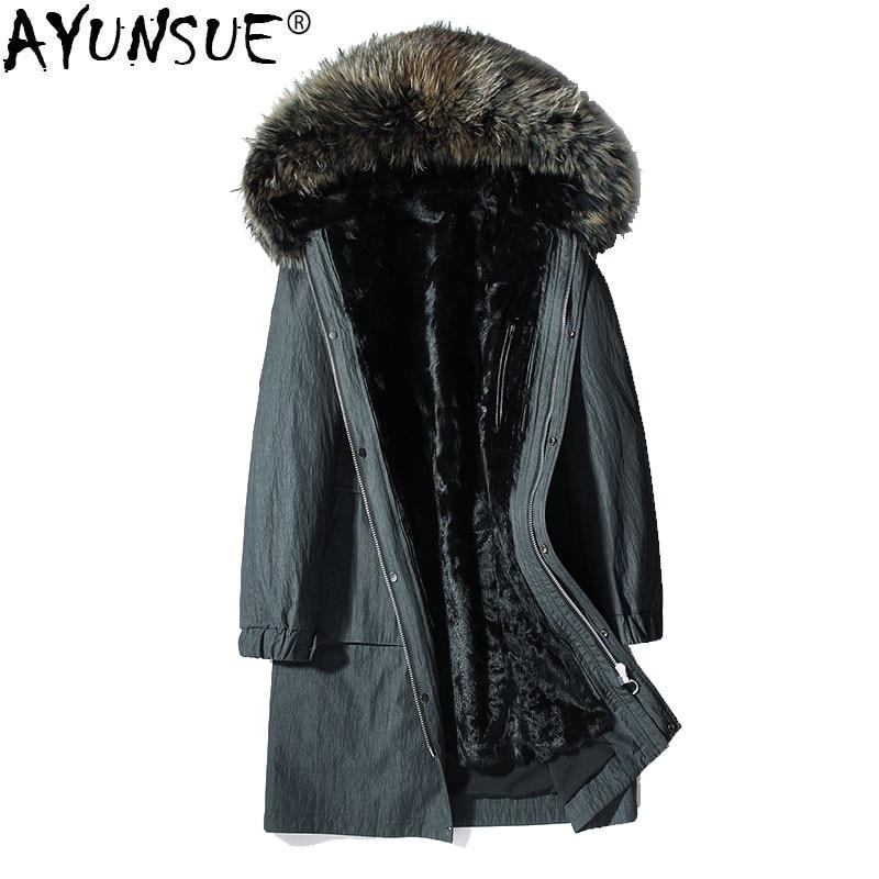 AYUNSUE Winter Jacket Parka Real Fur Coat Men Goat Fur Liner Real Raccoon Fur Collar Mens Jackets Parkas Hombre Invierno KJ1208