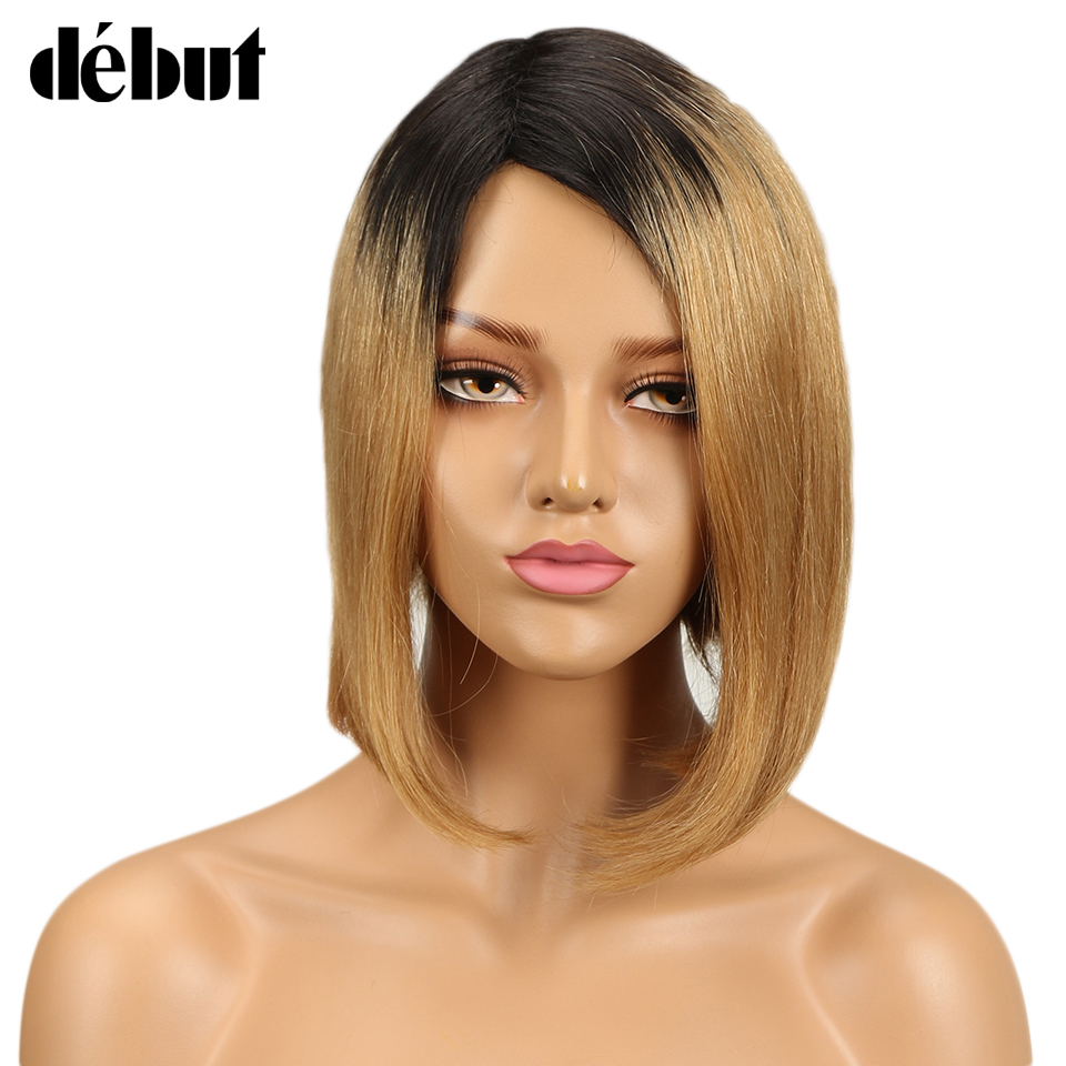 Debut Hair Brazilian Remy Short Straight Human Hair Wigs For Black Women Ombre Bob Wigs Side Part Free Shipping