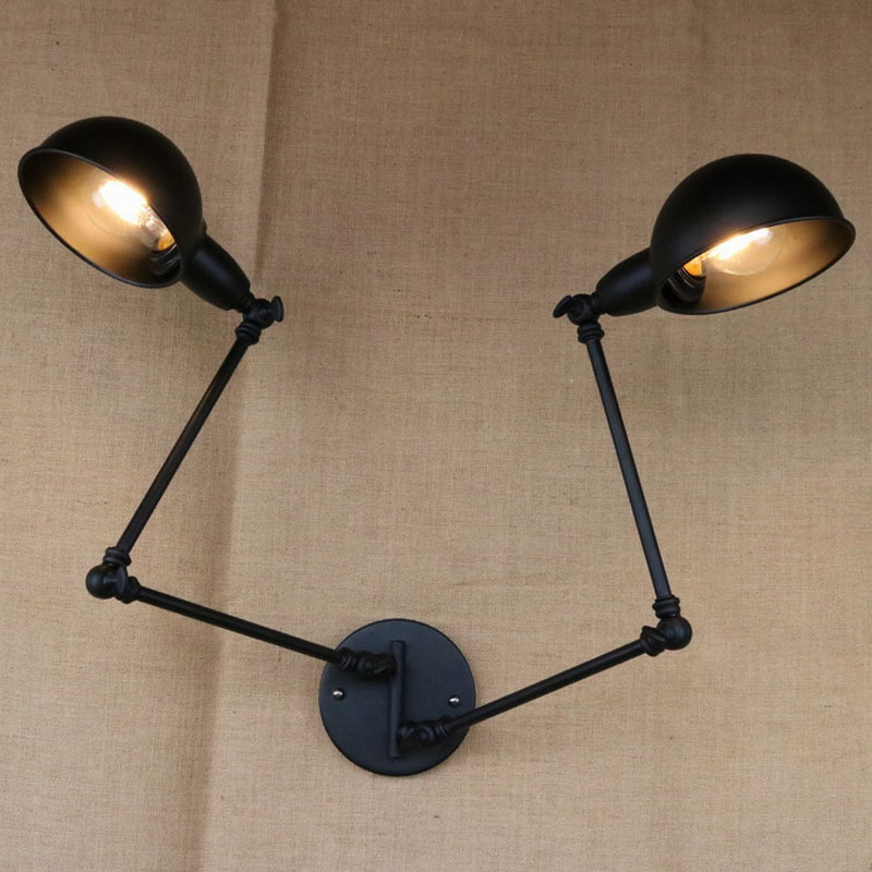 American Country Industry Lampshade Black Retro Double Head Swing Arm Wall Lamps Vintage Lights