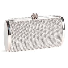 Wholesale 10* Handbag Pouch Wallet Rigid Metallic Deco Rhinestones for Woman Girl Silvery
