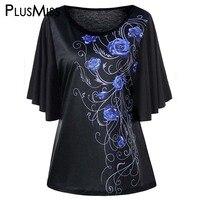 Más el Tamaño 5XL Tiny Floral Impresión Batwing Manga de La Camiseta de Las Mujeres ropa Casual Negro Camiseta Camiseta de Las Señoras Top Femme Grande tamaño