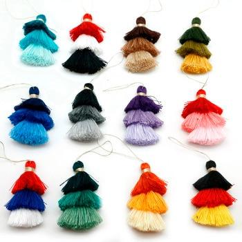 1 Uds., borla de seda de algodón de 75mm, borla de satén de 3 capas para manualidades DIY, colgante para teléfono, llavero, bolsa colgante para decoración del hogar