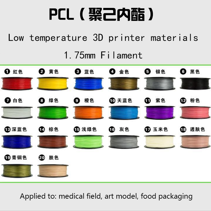 20 colors Reusable materials 1KG Low temperature 3D printing materials 1.75mm PCL filament 3D Drawing supplies for Medical field