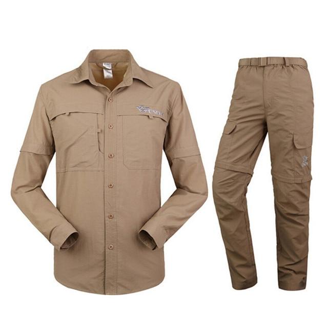 men s outdoor sport mens long short sleeve shirt pant set removable two cut