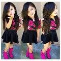 summer clothing set Girls kids flora t-shirt short sleeve two piece suit dress tutu skirt Children Wear  S1731