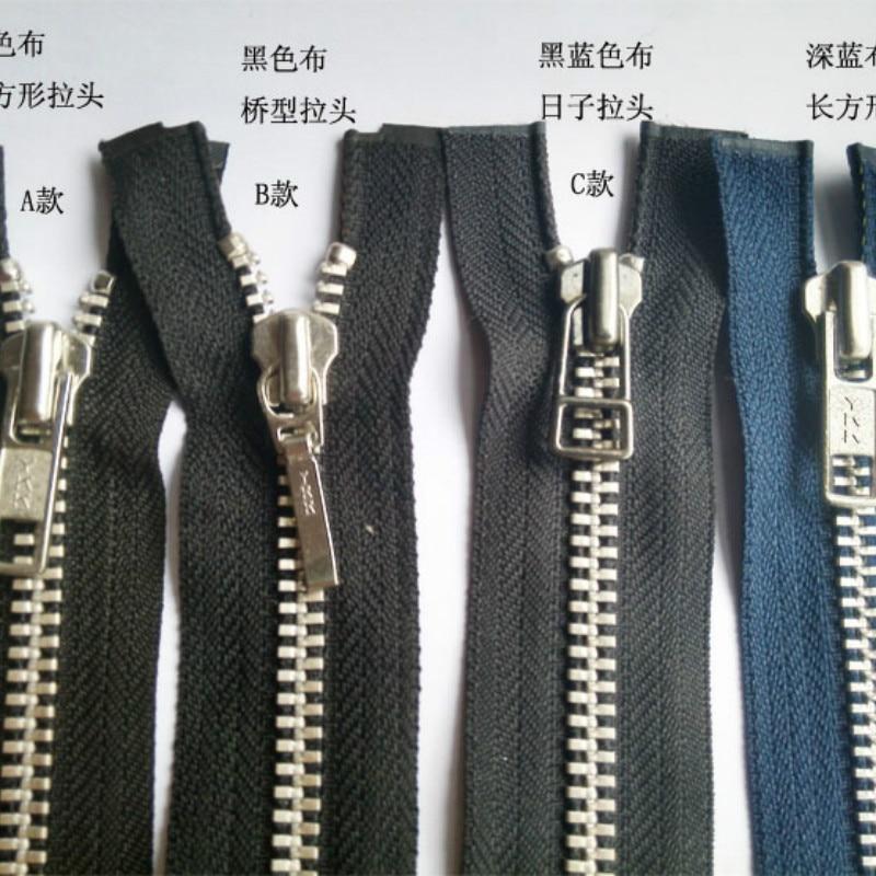 YKK-NO-10-METAL-GOLD-TEETH-OPEN-TWO-WAY-ENDED-ZIP BLUE