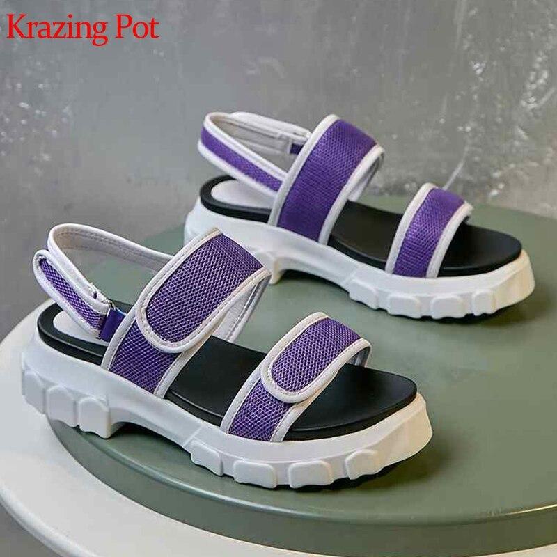 Krazing Pot coton tissu en cuir naturel peep toe wedges med talons femmes sandales augmenté plate-forme moderne superstar chaussures l2f1