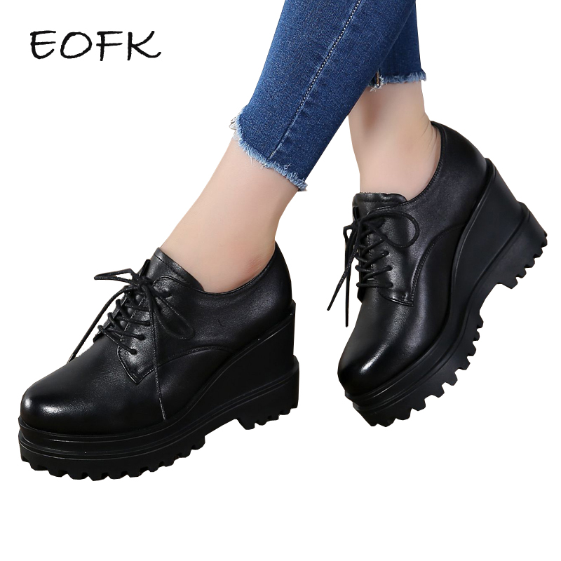 EOFK New Women Wedges Shoes Woman High Heels Leather Shoes Casual Lace Up Women's Pumps Thick Heels High Quality Female Footwear xiaying smile woman pumps shoes women spring autumn wedges heels british style classics round toe lace up thick sole women shoes