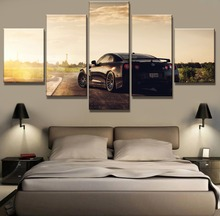 Framed 5 Piece Canvas Painting Nissan Gtr Car Sunset Cuadros Landscape Wall Art Home Decor For Living Room Picture
