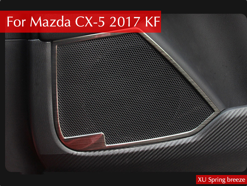 For Mazda CX-5 CX5 2017 2018 KF Car Door Speaker Audio Frame Cover Stickers Bezel Car Styling 4pcs/set Stainless Steel for mazda cx 5 cx5 2017 2018 kf 2nd gen car co pilot copilot stroage glove box handle frame cover stickers car styling