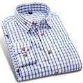 Escovado Xadrez Homens Marca Casuais Camisas de Manga Longa de Algodão Macio de Alta Qualidade Outono Pescoço Botão-Up Azul Moda Masculina Camisa de vestido