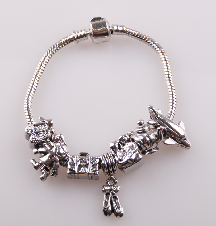 Free Shipping Alloy European Beads Metal Shoe Charms Bracelet With Bag Plane Charm Bracelets