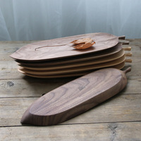 Japan Style Leaves Wooden Pallet Black Walnut Handmade Snacks Fruit Log Creative Dish Tray Osmo Surface Handing Tableware