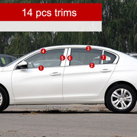 lsrtw2017 304 stainless steel car window trims for peugeot 408 2016 2017 2018 2nd generation
