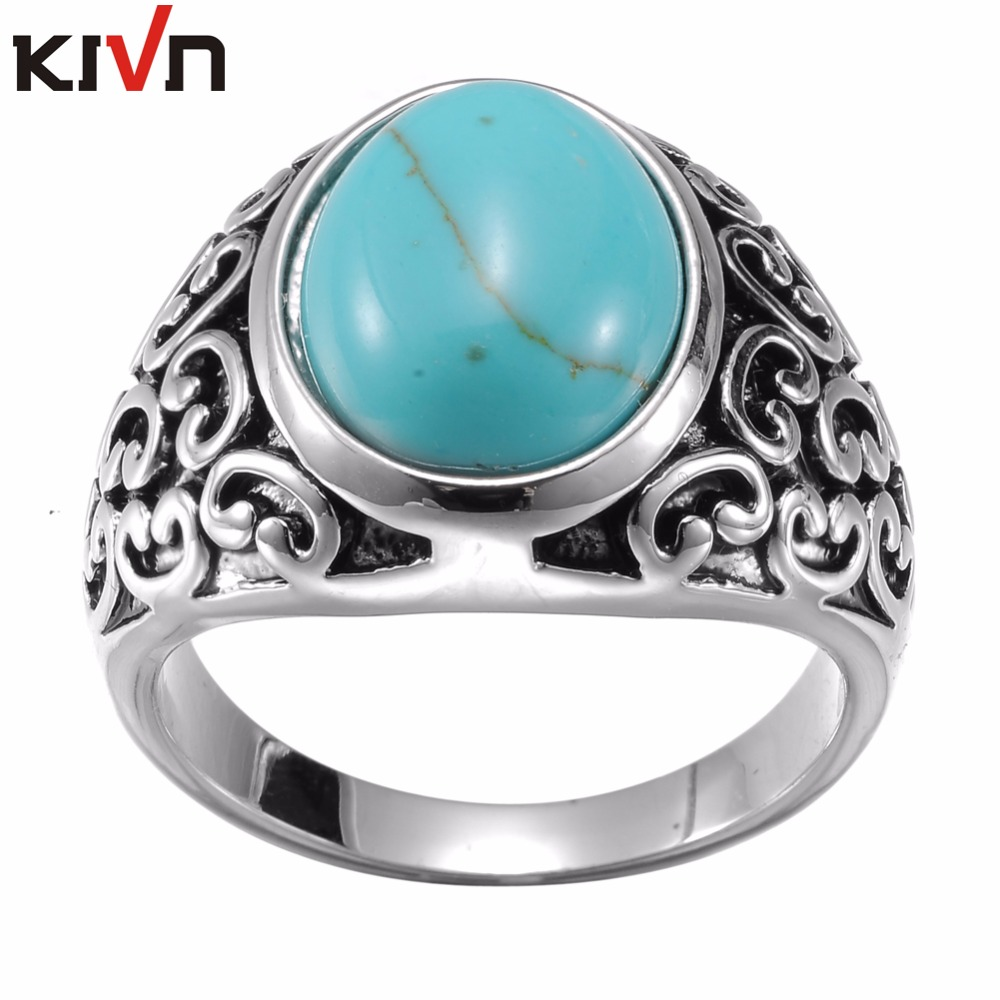 KIVN Fashion Jewelry Indian Filigree Blue Stone Antique Vintage Womens Girls Wedding Bridal Engagement Rings Birthday Gifts