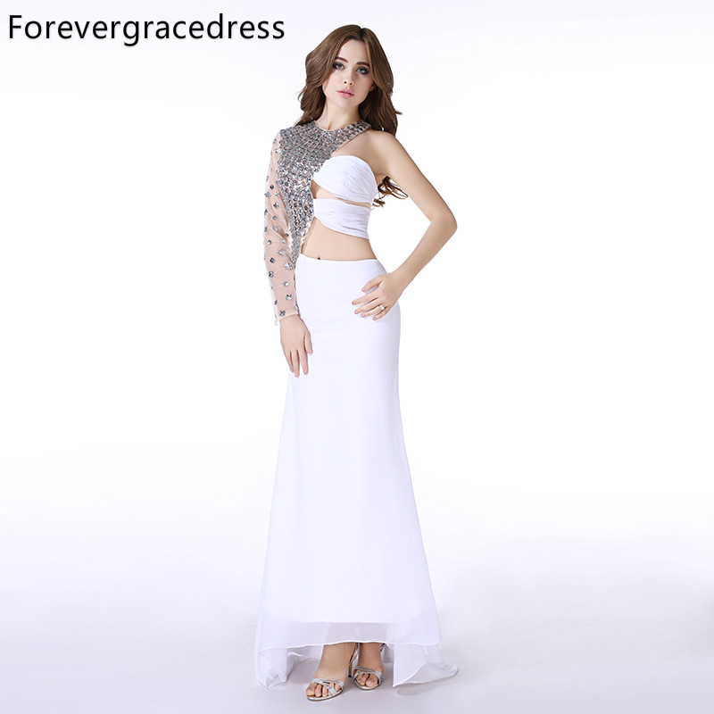 Forevergracedress Real Picture White   Prom     Dress   New Style One Shoulder Sleeve Crystal Chiffon Long Formal Party Gown Plus Size