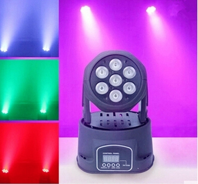 8PCS  7x12W RGBW quad mini led wash moving head light LED stage lights LED lamp light beam 14 channels