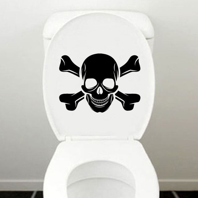 Pirate Skull Bones Fashion Bathroom Wall Decals Toilet Stickers Decor Vinyl  6WS0230