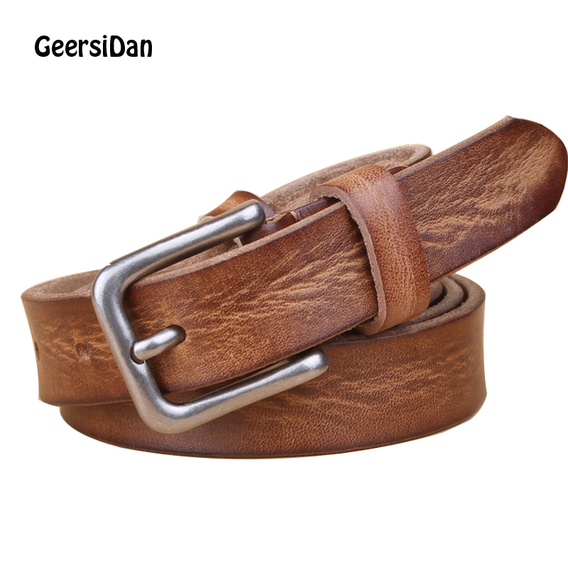 GEERSIDAN 2018 vintage genuine leather women belt Design brand 100% cowskin belt for women Fashon pin buckle female waistband