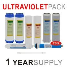 """1 год Ультрафиолетовая система обратного осмоса Сменный фильтр набор-9 фильтров с УФ и 75G RO мембрана-1"""" размер фильтр для воды"""
