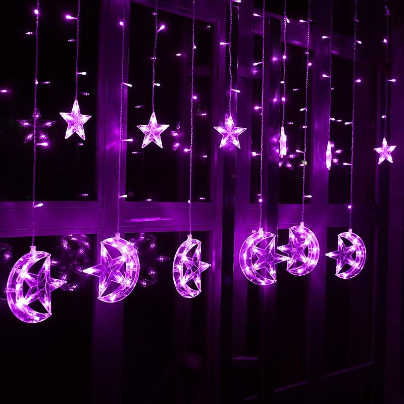 2.5M 220V ES Plug Ziemassvētku LED zvaigzne un Mēness aizkari - Brīvdienu apgaismojums - Foto 5