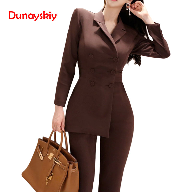 Women Fashion Formal Long Sleeve Doubled Breasted Top Skinny Pockets Pant 2020 New Spring Hots Sale Turn-down Collar Brown