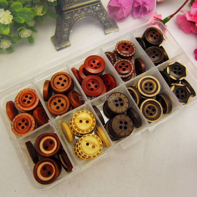 149165,10 style mix 100pcs 15mm wood button wholesale Children's clothes button accessories handmade art, clothing accessories