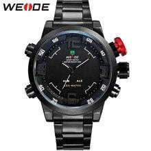 WEIDE Marca relojes militares hombre lujoso completamente de acero reloj cuarzo pantalla LED Relojes de muñeca de deportes 30M resistente al agua (Rojo)