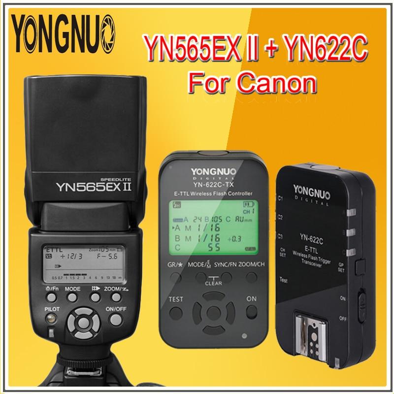 YONGNUO YN565EX YN-565EX III Radio TTL Speedlite Flash Speedlight + YN-622C Wireless Flash Trigger KIT For CANON 6D 7D 60D 600D for nikon canon dslr camera speedlite hss 1 8000s ttl flash speedlight inseesi in586exii vs yongnuo yn565ex yn568ex yn 565ex