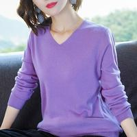 Hot Sale Women Sweater 100% Pure Cashmere Knitwear Winter New Fashion Vneck Pullover 5Colors Ladies Jumpers Standard Girls Tops