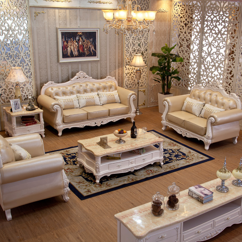 2017 New Arrive Furniture Sofa Sets Clical European Style Solid Wood Full Leather Cover Single Set In Living Room Sofas From