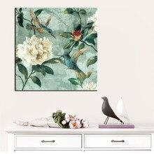 Toile murale 70x70cm, peinture traditionnelle peinte à la main avec fleurs et oiseaux, affiche imprimée