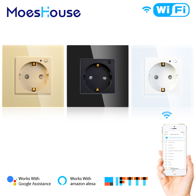 EU WiFi Smart Wall Socket 16A Outlet Glass Panel Gemany Smart Life/Tuya Remote Control Works With Amazon Echo Alexa Google Home