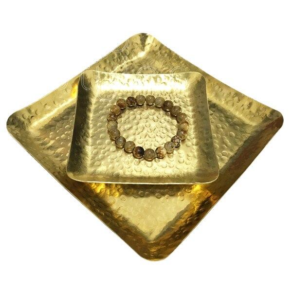 Cocostyles InsFashion superbe plateau carré en laiton fait à la main pour décor à la maison de style classique et cadeau du père