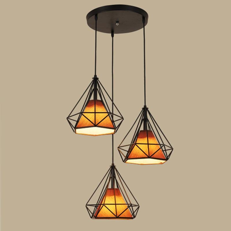 Nordic modern simple restaurant pendant lights creative tri-head loft lamp art diamond iron art bar lamp decoration 055