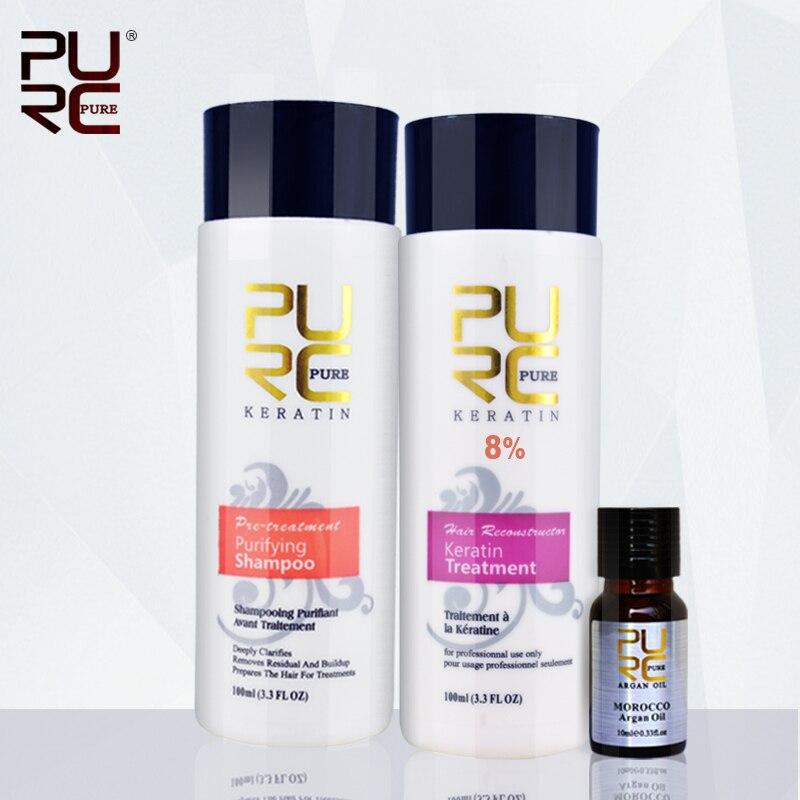 Purc cheratina set 8% formalina keretin trattamento 100 ml e shampoo purificante e 10 ml olio di argan rendere i capelli levigante e lucentezza