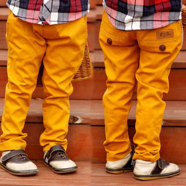 (5 parts / los) children young pure color cotton casual pants button decoration young Bai Sejie fashion pants young jeans