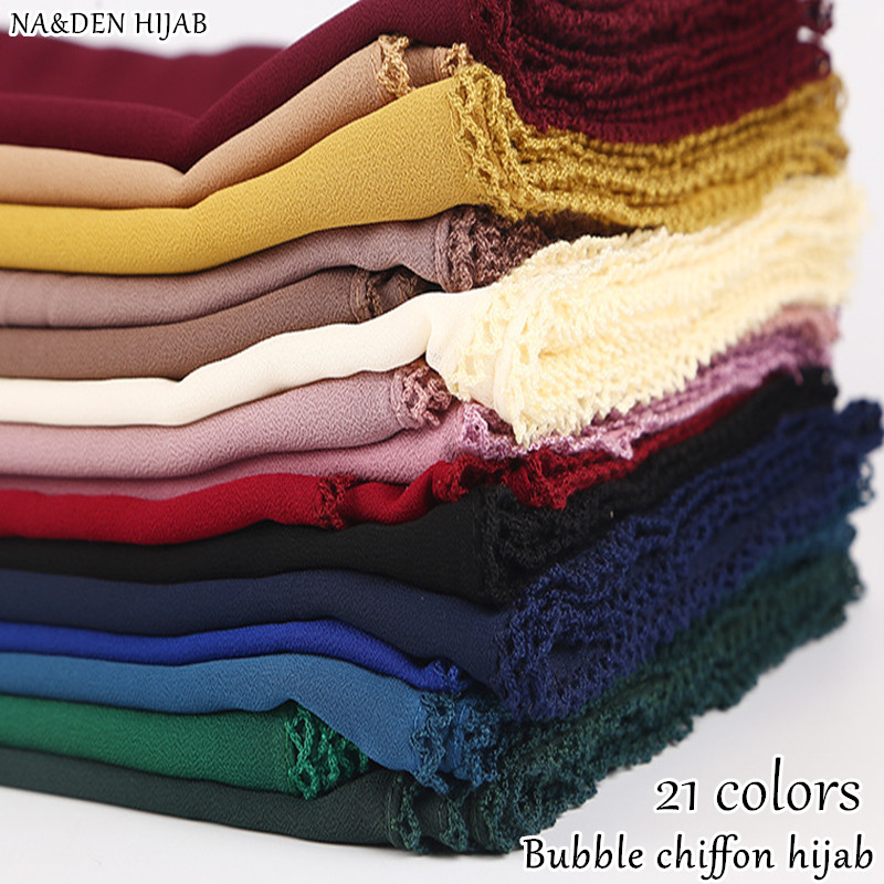 Fashion smooth Bubble Chiffon knit borders hijab scarf women pashmina bandana muslim echarpe head scarf plain