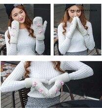 GLV918 Women thick cartoon rabbit fur winter outdoor font b gloves b font