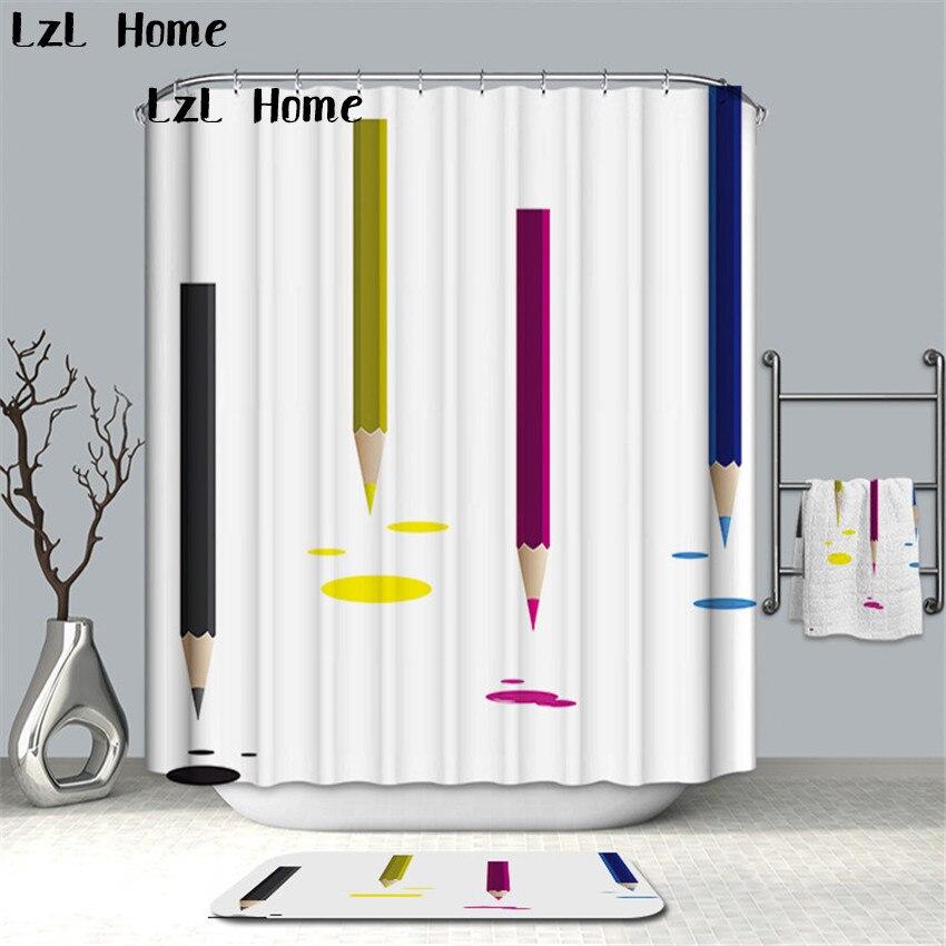 LzL Home Creative Art Pattern Shower Curtain Polyester Waterproof Bathroom Curtain High Quality Bath Bathing Sheer Home Decor zwbra shower curtain