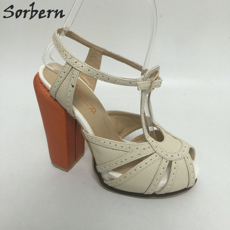 Sorbern Women Sandals Shoes Square Heels Plus Size Cheap Modest Ladies Party Shoes Sandalia Feminina 2017 New A sorbern women summer sandals shoes plus size 15cm transparent spike heels fashion ladies party shoes new arrive sandalia s